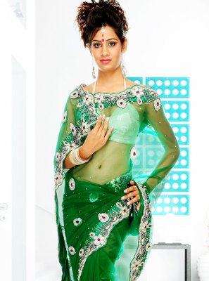 Net Handwork Classic Designer Saree in Green