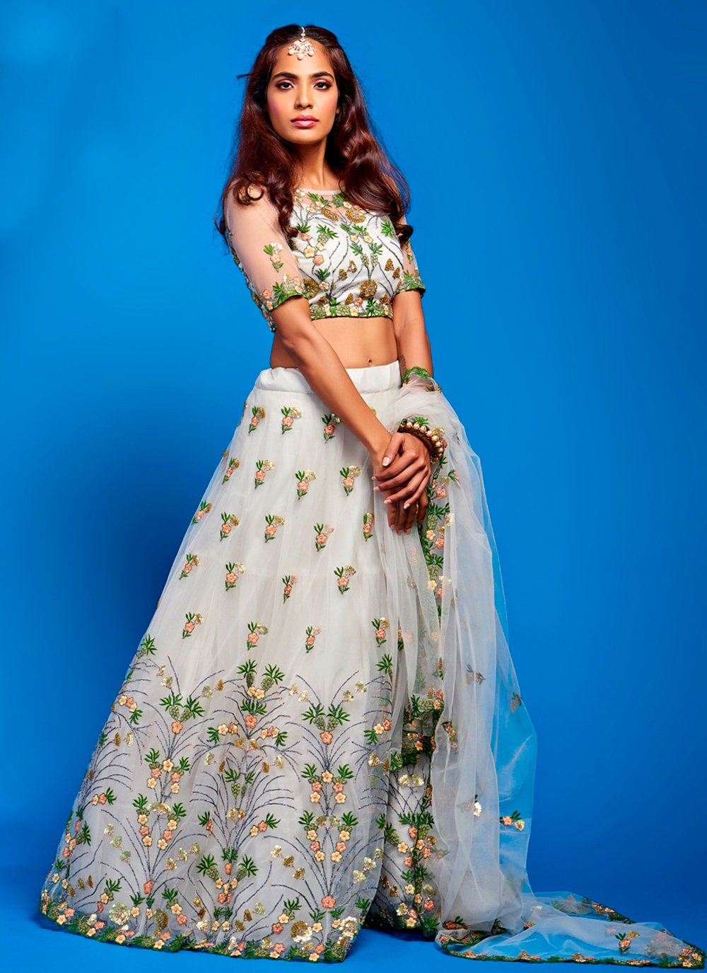 Net Lace Lehenga Choli in Grey