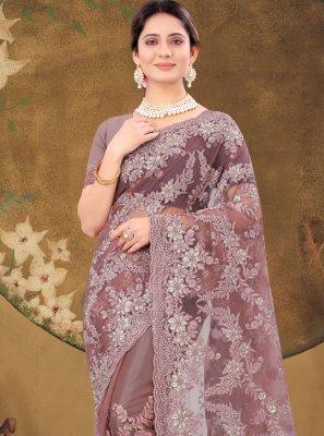 Net Lavender Designer Saree