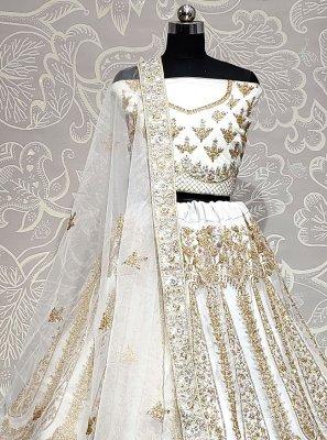 Net Lehenga Choli in Off White