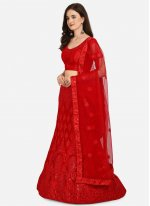 Net Lehenga Choli in Red