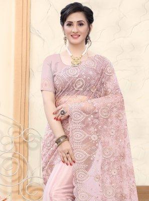 Net Mauve  Resham Classic Designer Saree