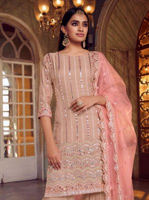Net Mirror Designer Pakistani Suit in Peach