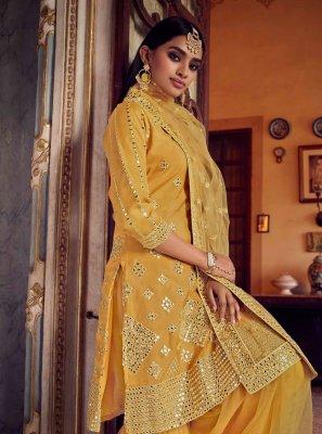 Net Mustard Designer Pakistani Salwar Suit