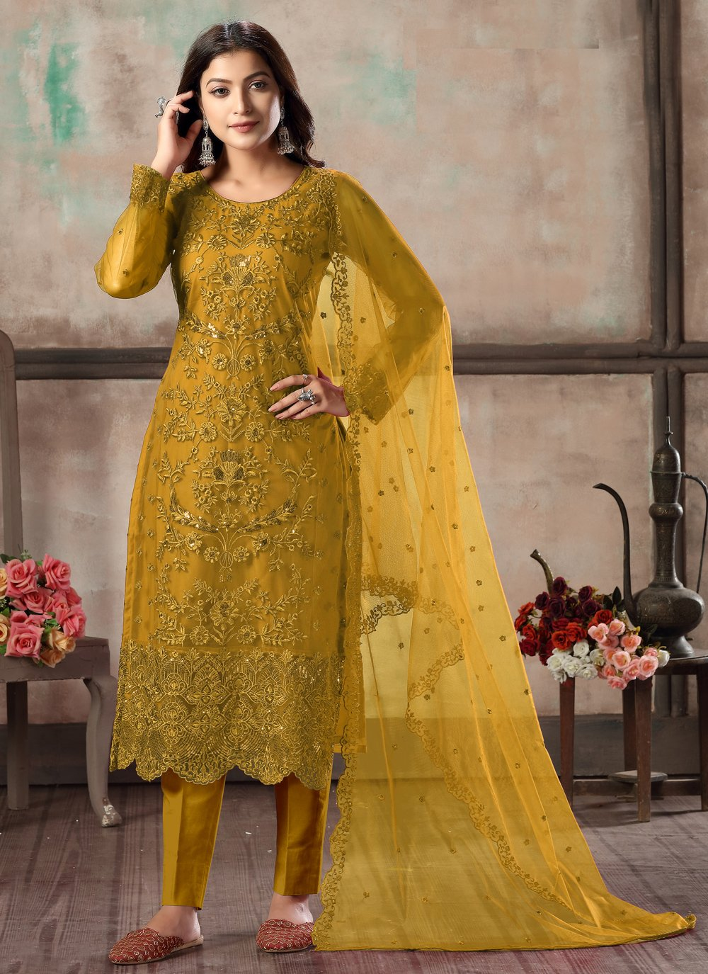 Net Mustard Embroidered Churidar Designer Suit