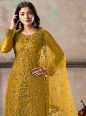 Net Mustard Embroidered Churidar Designer Suit