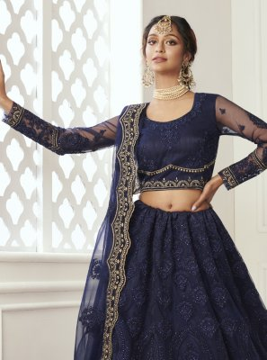 Net Navy Blue Lehenga Choli