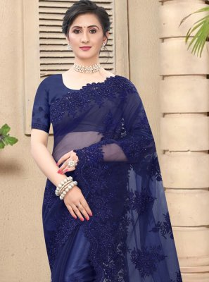 Net Navy Blue Trendy Saree