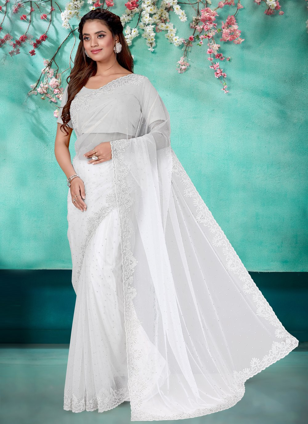 Net Off White Embroidered Classic Designer Saree