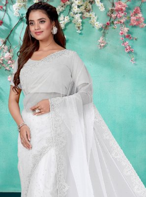 Net Off White Embroidered Classic Designer Saree