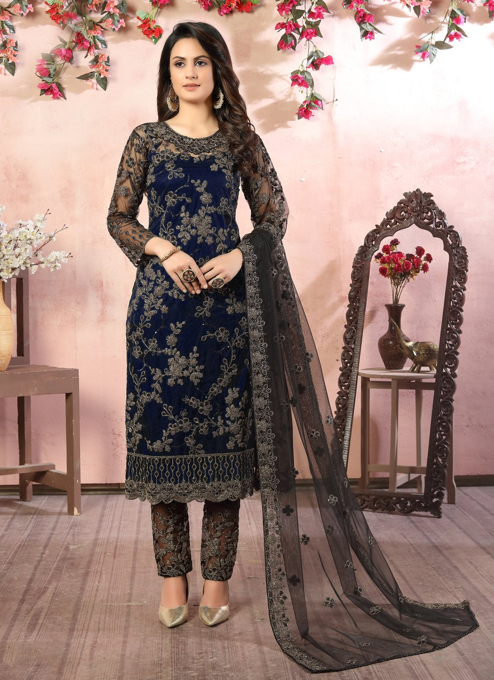 Net Pant Style Suit in Black and Blue