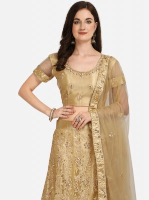 Net Patch Border A Line Lehenga Choli in Beige