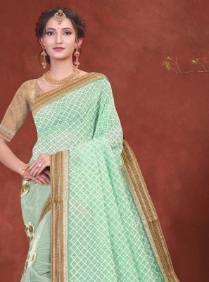 Net Patch Border Classic Saree in Sea Green