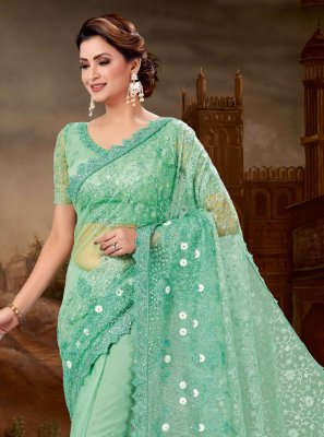 Net Patch Border Traditional Saree in Sea Green