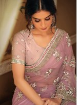 Net Patch Border Trendy Saree in Pink