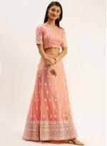 Net Peach Bollywood Lehenga Choli
