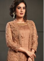 Net Peach Resham Designer Floor Length Salwar Suit