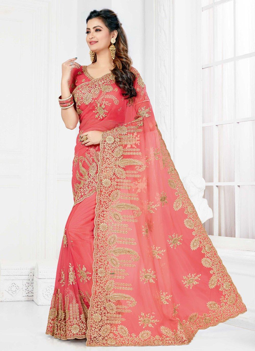 Net Pink Classic Designer Saree