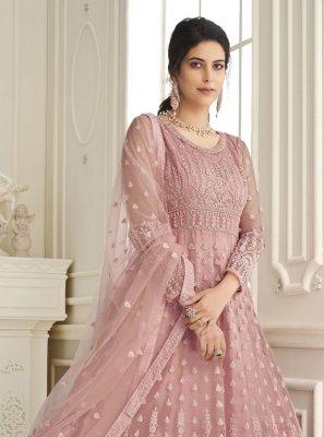 Net Pink Embroidered Floor Length Anarkali Suit