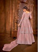 Net Pink Embroidered Long Choli Lehenga