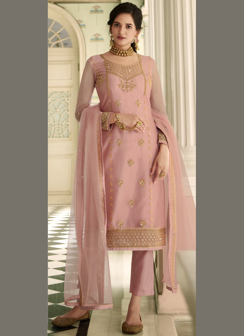 Net Pink Embroidered Pant Style Suit