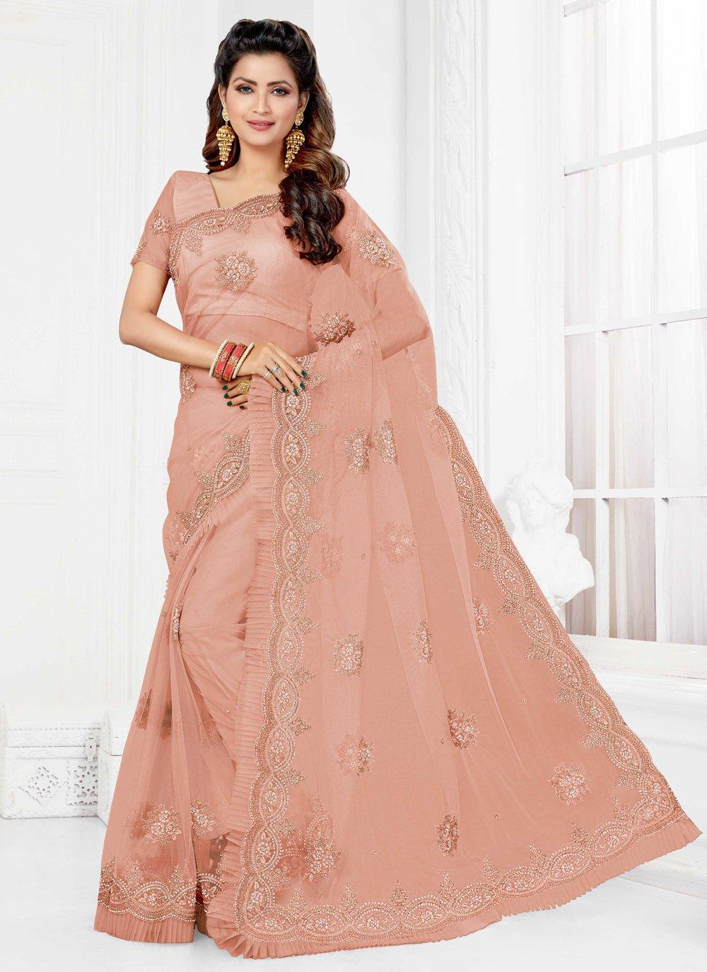 Net Pink Resham Trendy Saree