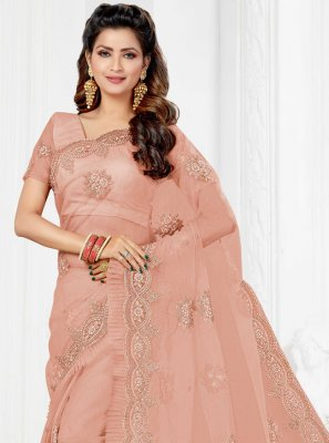 Net Pink Resham Trendy Saree