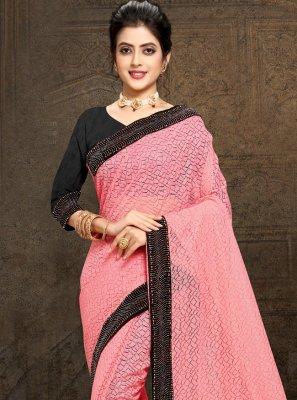 Net Pink Stone Work Classic Saree
