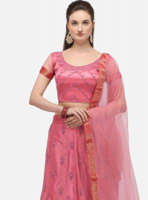 Net Pink Zari A Line Lehenga Choli