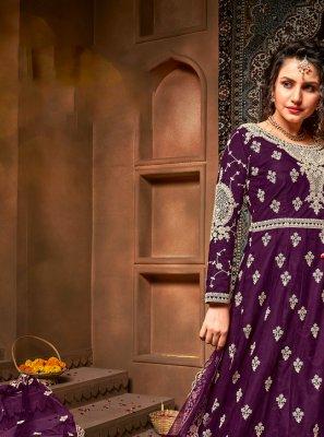Net Purple Embroidered Floor Length Anarkali Suit