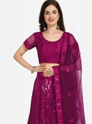 Net Purple Embroidered Lehenga Choli