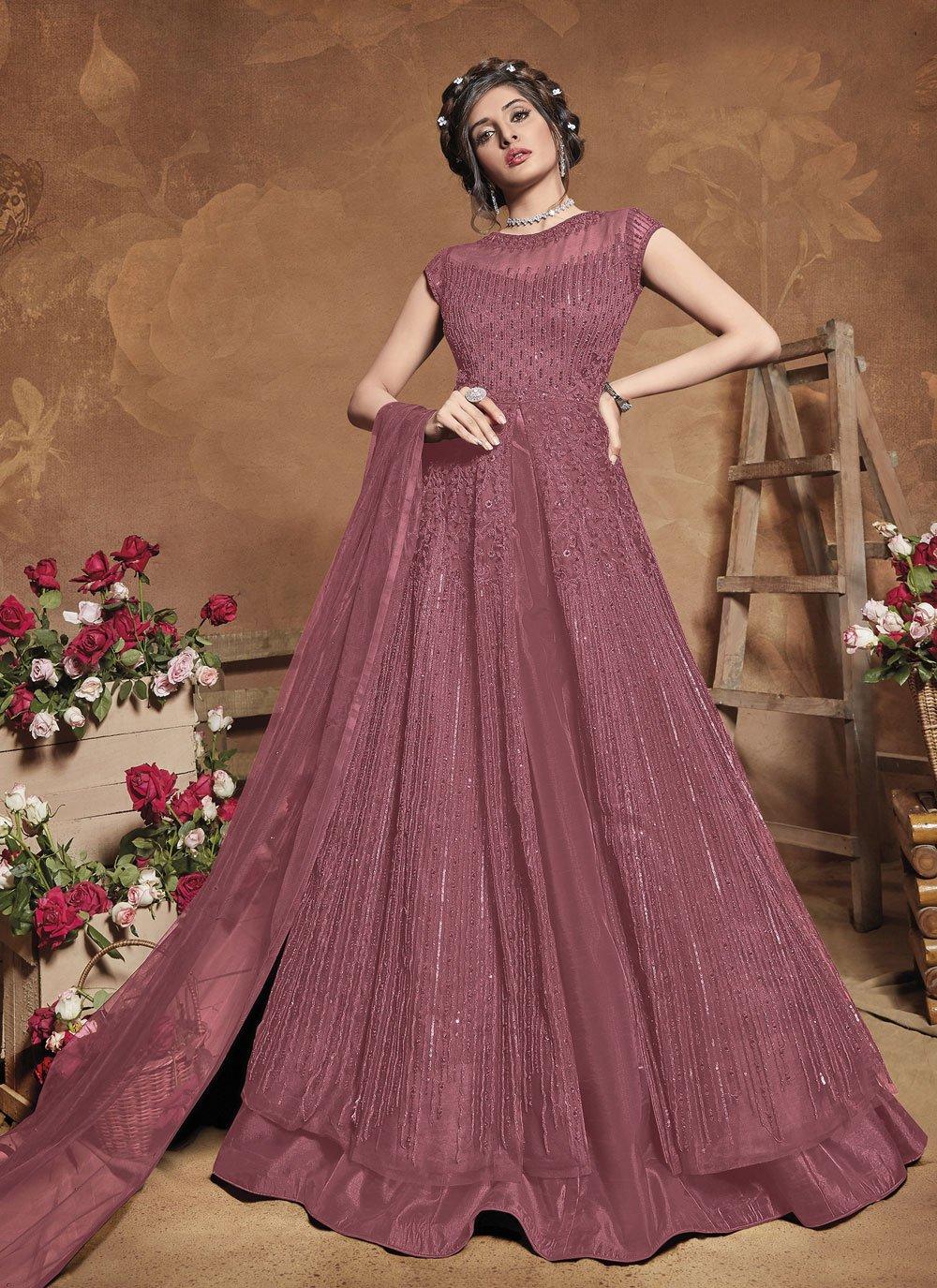 Net Purple Floor Length Anarkali Suit