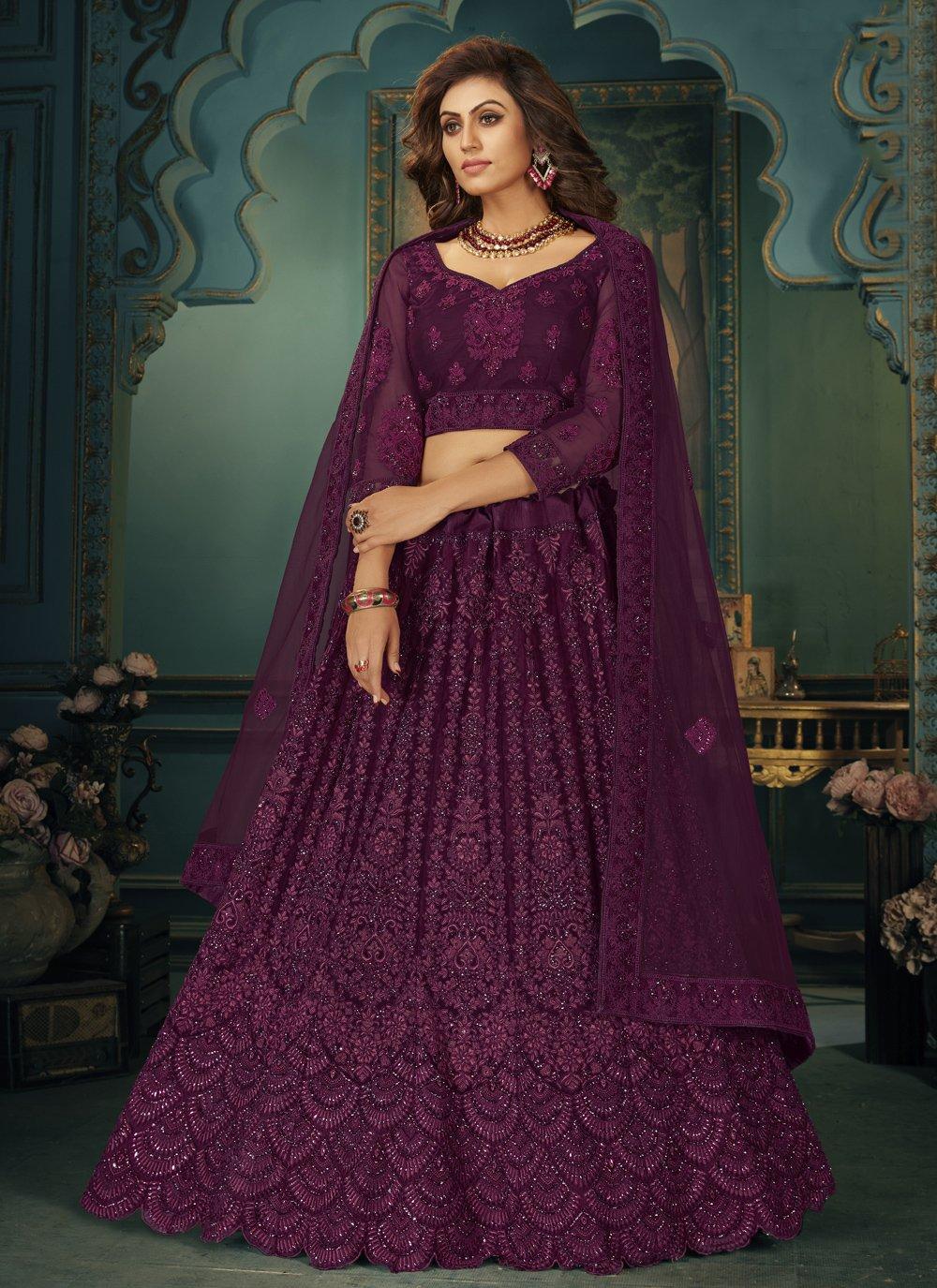 Net Purple Stone Lehenga Choli