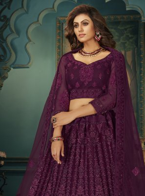 Net Purple Stone Lehenga Choli