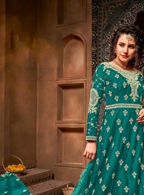 Net Rama Embroidered Floor Length Anarkali Suit