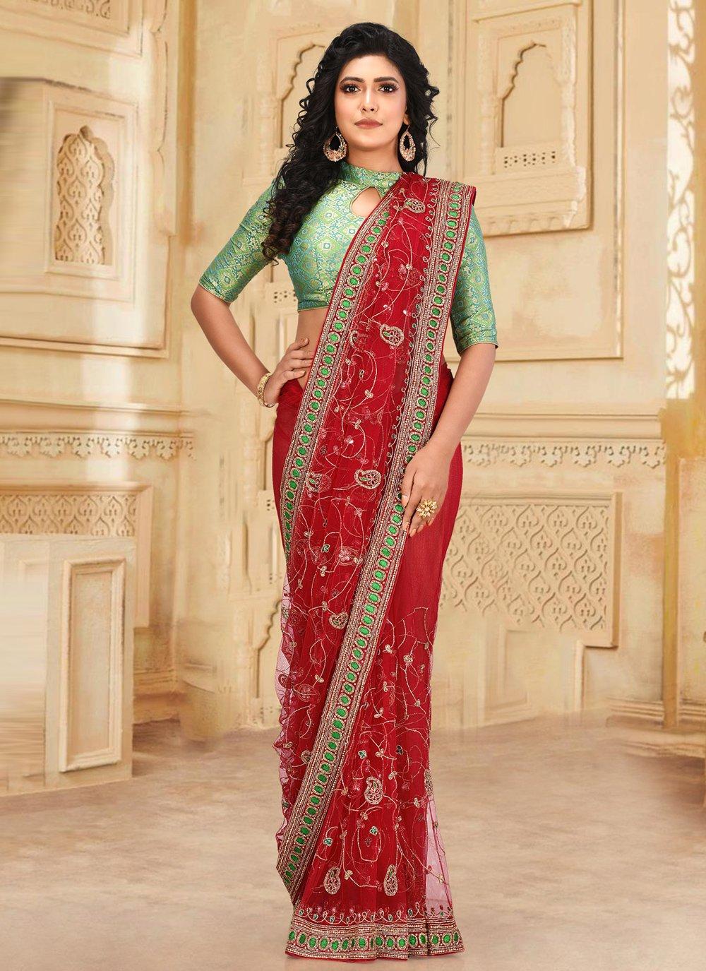 Net Red Classic Designer Saree