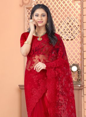 Net Red Designer Saree