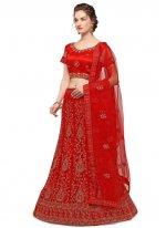Net Red Embroidered Lehenga Choli