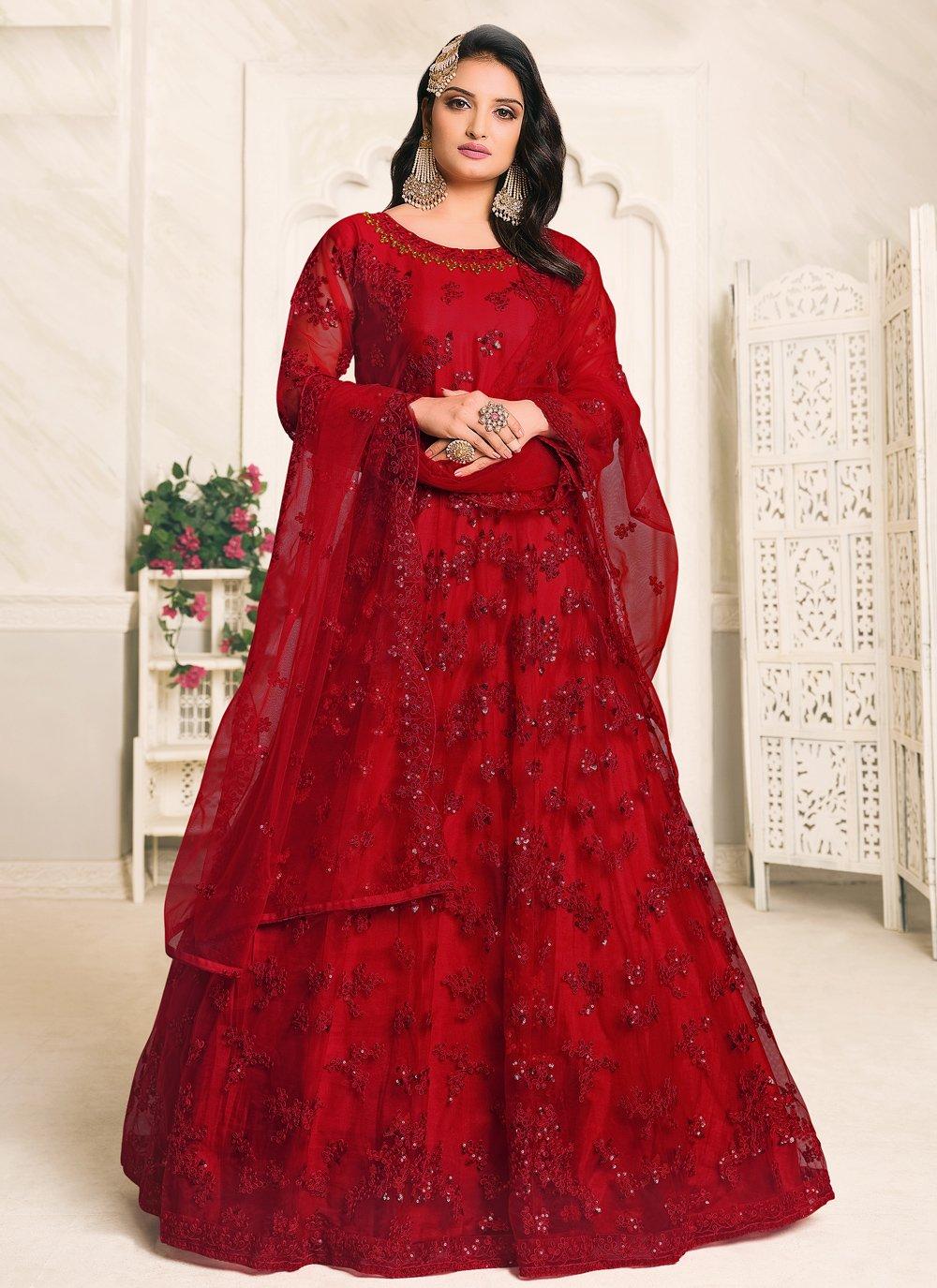 Net Red Resham Designer Floor Length Suit