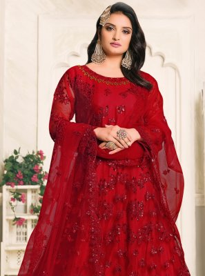 Net Red Resham Designer Floor Length Suit