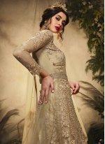 Net Resham Beige Floor Length Anarkali Suit