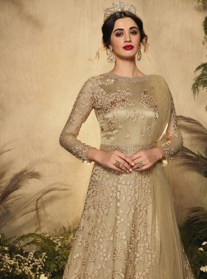Net Resham Beige Floor Length Anarkali Suit
