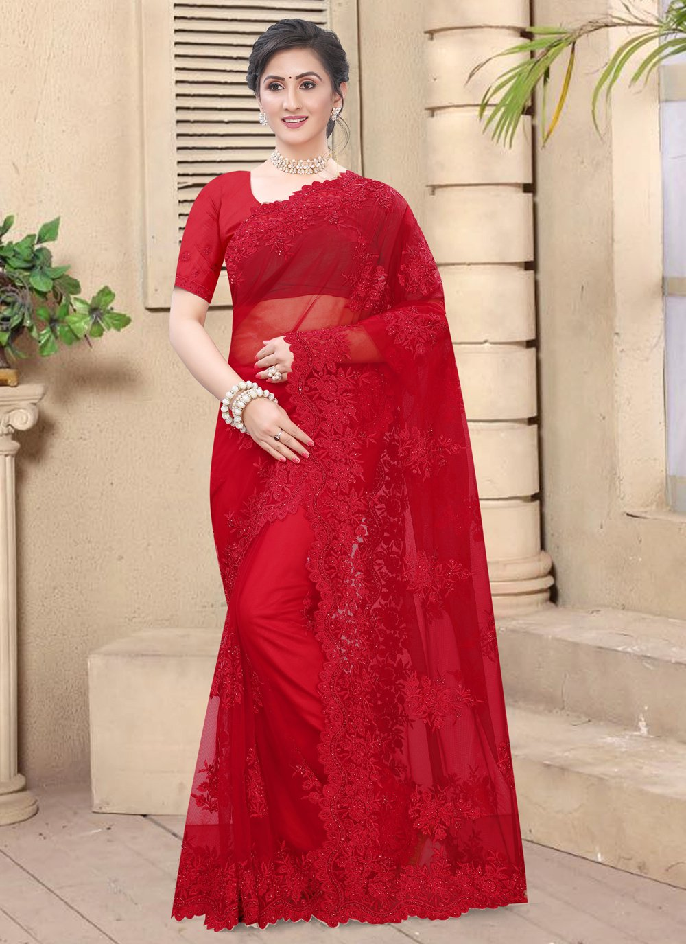 Net Resham Classic Saree in Red