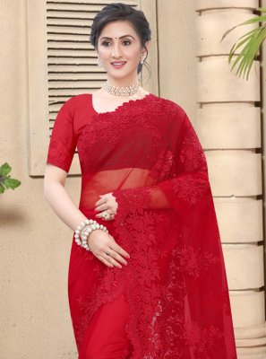 Net Resham Classic Saree in Red