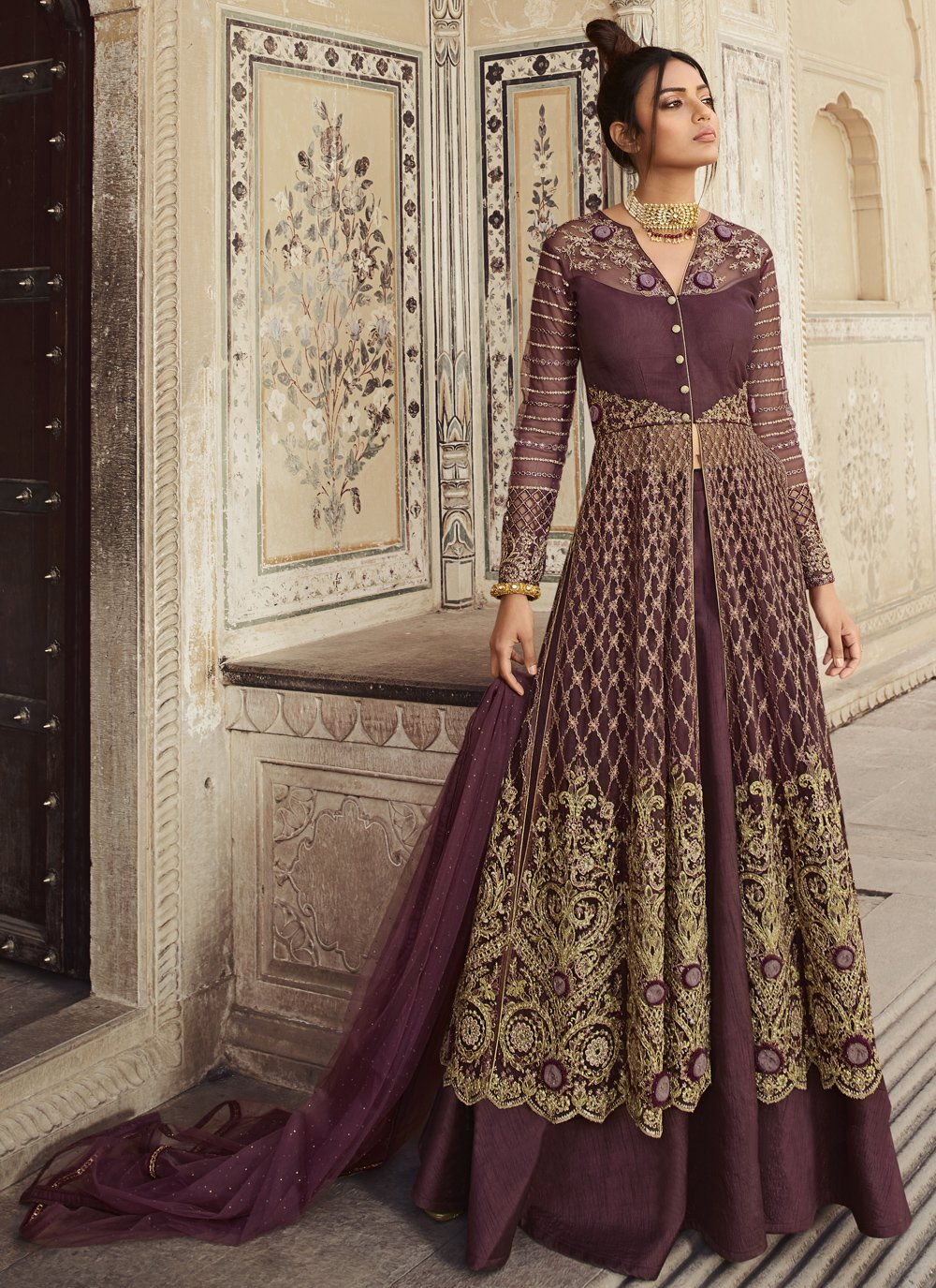 Net Resham Designer Long Lehenga Choli in Purple