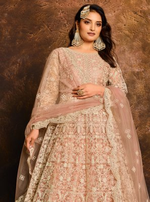 Net Resham Floor Length Anarkali Suit