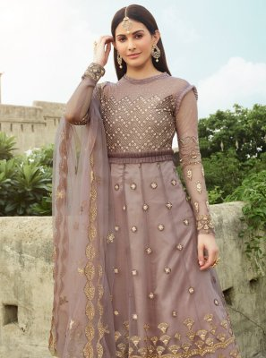 Net Resham Lavender Floor Length Anarkali Suit