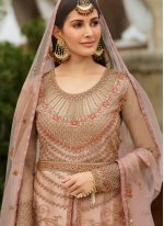 Net Resham Pink Floor Length Anarkali Suit