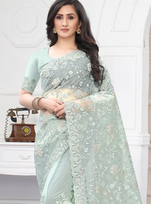 Net Resham Sea Green Classic Designer Saree