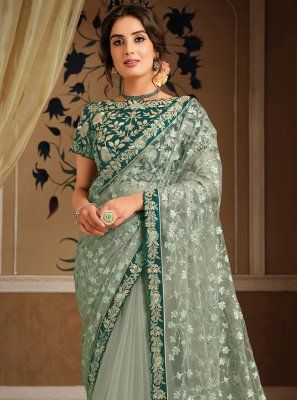 Net Sea Green Designer Saree